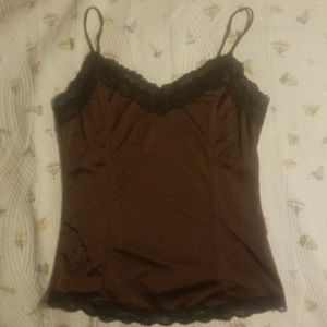 The Limited M Brown Satin Tank Top w/ darker lace